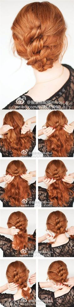 Hair Romance - Easy knotted hairstyle - click through for full tutorial. I wonder if it would work for long hair. Pretty Hairstyles, Easy Hairstyles, Wedding Hairstyles, Elegant Hairstyles, Party Hairstyle, Bangs Hairstyle, Black Hairstyle, Hairstyles 2018, Everyday Hairstyles