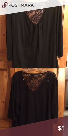 Black short sleeves and lace top size 2X Black short sleeves and black lace on the back across the shoulders. Scooped neck  Body is 65% polyester 35% rayon, lace is 94% nylon 6% spandex Faded Glory Tops