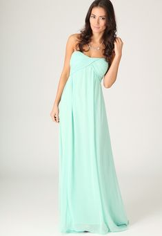 Harriet Gathered Chiffon Look Maxi Dress In Mint
