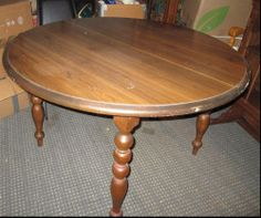 Circular Gateleg Solid Wood Table With 6 Chairs Of Which One Is A Captain Chair