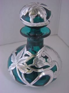Green Glass Perfume Bottle W Sterling Silver Overlay