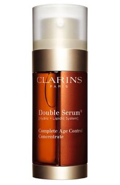 <center> <b> Clarins Double Serum Complete Age Control, </b> is fantastic. I'm a massive Clarins fan and since I've been applying this serum twice a day my skin looks brilliant. It's the best selling serum in the UK so stock up now! Anti Aging Tips, Best Anti Aging, Anti Aging Skin Care, Best Pore Minimizer, Sephora, Cleanser, Moisturizer, Serum Anti Age, Skin Care Products