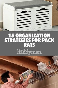 : Projects and garage organization hacks. We found dollar store hacks to help with your garage organization. Workshop Organization, Home Organization Hacks, Garage Organization, Garage Shelf, Garage Storage, Diy House Projects, Declutter Your Home, Busa, Built In Storage