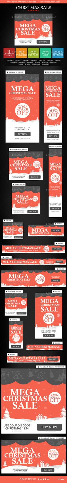 Christmas Sale Web Banners Template PSD #design #ads #xmas Download: http://graphicriver.net/item/christmas-sale-banners/14038572?ref=ksioks