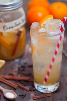 This particular recipe was created for the holiday season. At home at either the Thanksgiving or Christmas dinner table, this orange soda is swimming with warm cinnamon, clove and allspice. A few black peppercorns tie it all together. There's a good chanc Shrub Drink, Martini, Shrub Recipe, Rum, Drinking Vinegar, Champagne Vinegar, Fruit In Season, Non Alcoholic Drinks, Summer Drinks