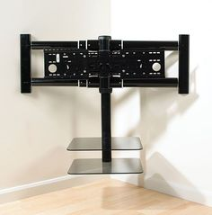 Chic and Modern TV Wall Mount Ideas for Living Room Tv Mount With Shelf, Diy Tv Wall Mount, Corner Tv Wall Mount, Best Tv Wall Mount, Corner Tv Shelves, Corner Tv Stands, Dispositions Chambre, Modern Tv Wall, Modern Living