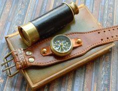 Vintage Brass Wrist Compass on Soft Leather Steampunk Style Cuff Bracelet