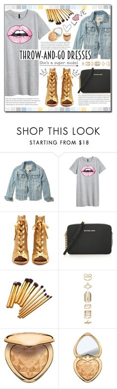 """""""Easy Outfitting: Throw-and-Go Dresses"""" by ana-a-m ❤ liked on Polyvore featuring Hollister Co., H&M, Gianvito Rossi, Seed Design, MICHAEL Michael Kors, Accessorize, Too Faced Cosmetics and easydresses"""