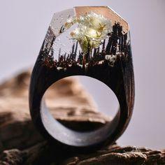 Joia: anel de madeira têm paisagens mágicas em miniaturas