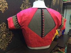 55 Latest Pattu saree blouse back neck designs Netted Blouse Designs, Simple Blouse Designs, Stylish Blouse Design, Blouse Back Neck Designs, Saree Blouse Designs, Sari Blouse, Saris, Silk Sarees, Designer Blouse Patterns