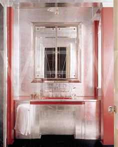 Art Deco Bathrooms Add a crystal chandelier