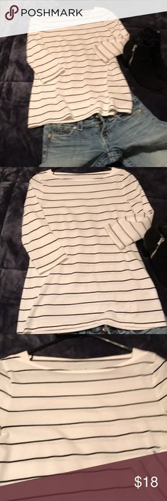 """⭐️🌟⭐️SALE⭐️🌟⭐️Black and white striped boat neck Wore once and is a bit tight for my chest. 3/4 """" sleeves Tops Tees - Long Sleeve"""