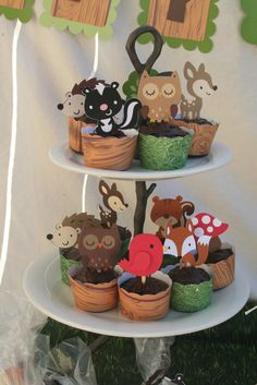 Dark Brown Owl Woodland Creatures Cupcake Toppers Set of 4
