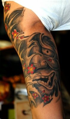 TATTOO HANNYA MASK BUDDA HALF SLEEVE TATTOO BY THE RED PARLOUR QUEENS NY NYC