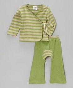 Look at this #zulilyfind! Matcha Green Stripe Wrap Top & Pants - Infant & Toddler by Sckoon Organics #zulilyfinds