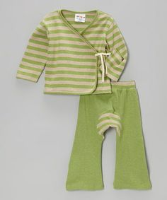 Look what I found on #zulily! Matcha Green Stripe Wrap Top & Pants - Infant & Toddler by Sckoon Organics #zulilyfinds