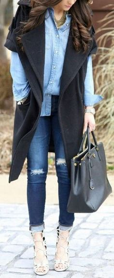 Love This Denim Layered Outfit