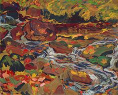 MacDonald - Leaves in the Brook c. 1918 oil on board x cm Gift of the Founders, Robert and Signe McMichael David Milne, Franklin Carmichael, Group Of Seven Paintings, Tom Thomson, Emily Carr, National Art, Modern Artists, Canadian Artists, Leaves