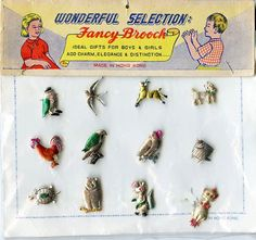 ... Original Card of 12 Metal Brooches Package 1950s 1960s Animal