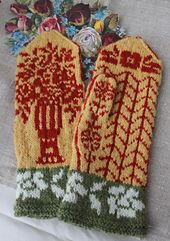These mittens have old bookmarks and cross-stitch inspired . Knitted them in honey colored yellow and rust red, they became little too much yellow. They would be so romantic with pink roses or why not in 'black and gray. Anybody who knit them, please send pictures to me.
