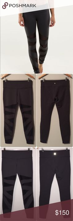 Lululemon tech mesh tights Lululemon original tech mesh tights, soot gray with black mesh, great condition with no flaws or signs of wear, rare and hard to find. Luon fabric. Bundle to save ❤️ lululemon athletica Pants Leggings