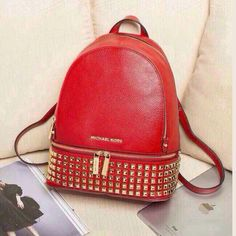 MICHAEL Michael Kors Small Rhea Zip Soft Venus Leather Studded Backpack Red