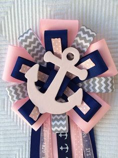 Items similar to Pink Baby Shower Corsage Nautical Sailing Anchor on Etsy Distintivos Baby Shower, Shower Bebe, Baby Girl Shower Themes, Baby Shower Gender Reveal, Baby Shower Games, Shower Door, Moldes Para Baby Shower, Anchor Baby Showers, Nautical Baby