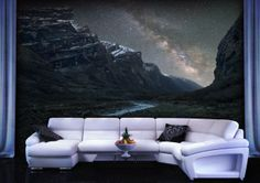 A night themed wallpaper that transforms the whole room into a picturesque environment.