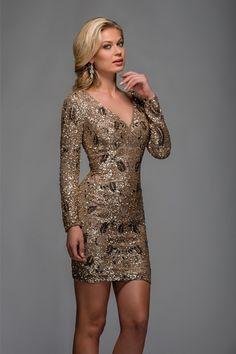 PRIMA Glitz GX1319 Long Sleeve Sequin Mini Dress
