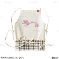 Pink Stork Girl Zazzle HEART Apron
