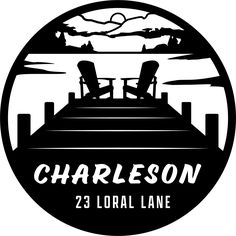 """Two chairs on a scenic pier. Customize with your name and address or other text. Available in 18"""", 24"""", 30"""" Cabin Signs, Lake Signs, Pike Fishing, Walleye Fishing, Deer Crossing, Camper Signs, Fishing Signs, Restaurant Signs, Deer Family"""