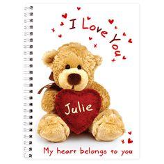 Personalised Teddy Heart Notebook