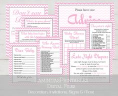 Pink Baby Shower Games Package, Baby shower games printable, twelve games, baby shower wishes, price is right, what's in your purse