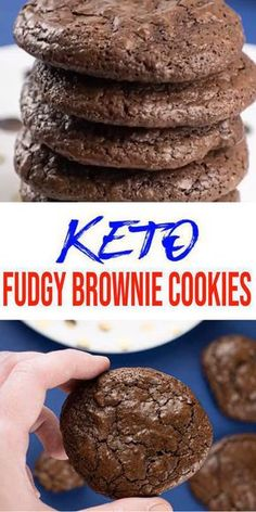 Keto Cookies! AMAZING ketogenic diet cookies - Easy chocolate fudgy low carb cookies. BEST keto dessert, keto snack or keto breakfast idea. Try these simple & quick homemade keto cookies fudgy brownies. Yummy chocolate fudge brownie cookies. Gluten free, sugar free, healthy keto cookie recipe. Great sweet & savory treat for a low carb diet. Great on the go snack idea or make ahead after meal idea. #lowcarb #keto #cookies Check out the BEST keto cookie recipe :)