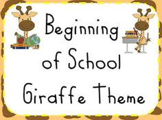 Giraffe Theme Beginning of the Year pack / Name tags, cubby tags and classroom icons.  It is FREE!