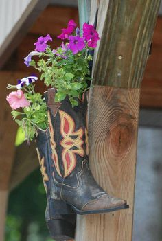 Western Cowboy Boot Flower Pot Planter Country Plant Holder ...