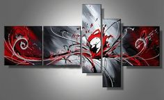 Outbreak of red radiation Unique Modern Wall Art On Canvas Set Of 5 by HugeCanvas, http://www.amazon.com/dp/B00CRU9LO2/ref=cm_sw_r_pi_dp_5.f4rb13DXVFR
