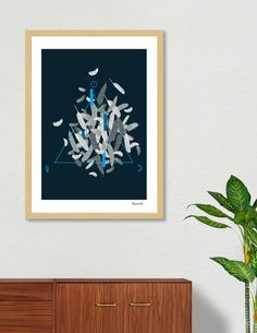 Discover «White feathers and geometrics blue», Exclusive Edition Fine Art Print by Paola Morpheus - #geometrics #blue #white #feathers #triangle #polygon #moon #sun #leave #piombo #saturn #symbols #sacredgeometry #element #divineelement #symbolism #women #albedo #nigredo #rubedo #alchemic #nature #mathematics #whiteswan #swan #paolamorpheus #illustration #digitalart #graphics #pictures #wallart #paper #interiordesign #arredamento