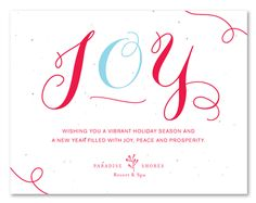 winter holiday greetings cards on seeded paper pure joy by green business print beautiful colors and whimsical calligraphy will make your customers - Business Holiday Card Messages