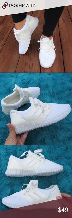 •JUST IN || ASHLEY Athletic Sneakers The ASHLEY is a low top athletic sneaker for a perfect casual, comfy, and effortless look.   🚫trades 📸 photos by me of exact item - color is White Knit Shoes Sneakers