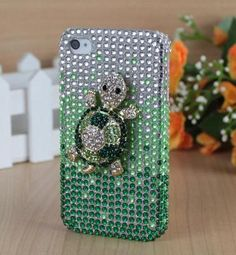 Deluxe 3D Green Turtle Crystal Diamond Bling Hard Case Cover For iPhone 4/4S | eBay