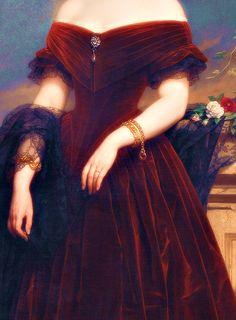 Portrait d'isabelle Antoinette Barones Sloet van Toutenburg (Détail) Nicaise de Keyser . 1852