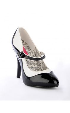 a68a2efa1be5bd Bordello Shoes Tempt Two-Tone Maryjane in Black and White
