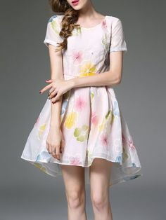 Shop Mini Dresses - White Short Sleeve A-line Floral-print Mini Dress online. Discover unique designers fashion at StyleWe.com.