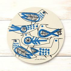 Lisa Larson Retro Bird pot coaster ~ laminated pen drawing on birch Gravure Illustration, Illustration Art, Illustrations, Ceramic Plates, Ceramic Pottery, Paperclay, Pottery Painting, Bird Design, Ceramic Artists