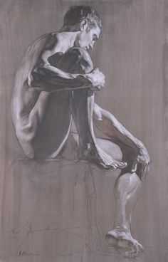 life figure drawing, nude man