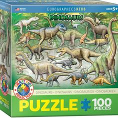 100 Piece Cretaceous Dinosaurs Puzzle  $9.99  Description •Box size: 8″ x 8″ x 2.37″. Finished Puzzle Size: 13″ x 19″. •As kids, we are frightened but also fascinated by the reign of the dinosaurs. Help your kids learn about these fantastic animals with this jigsaw puzzle featuring over 20 dinos. •Strong high-quality puzzle pieces. •Made from recycled board and printed with vegetable based ink. •This superior quality puzzle will delight and educate all at the same time.
