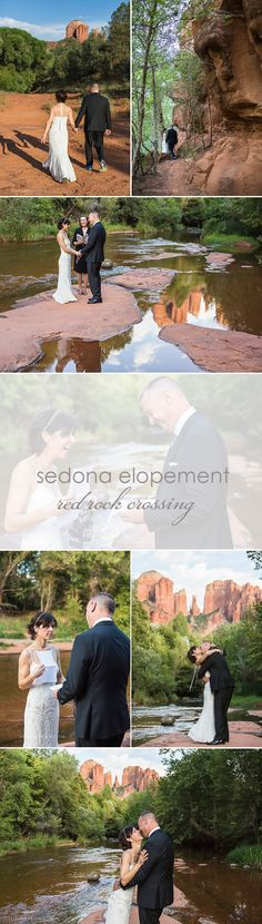 Sedona elopement at Red Rock Crossing by Sedona Bride Photographers www.sedonabride.com ... these two lovebirds eloped on the banks of Oak Creek Canyon and the ceremony was officiated by Karen Lynn. Contact us for amazing Sedona wedding location ideas!