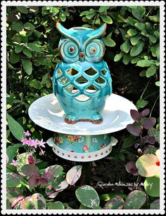 Turquoise Owl Garden Totem Stake  As by GardenWhimsiesByMary, $38.00
