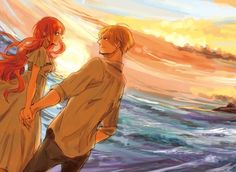 Sanji x Nami blue sea and orange sunset